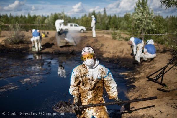 Activista limpiando un derrame de petróleo en la República de Komi.