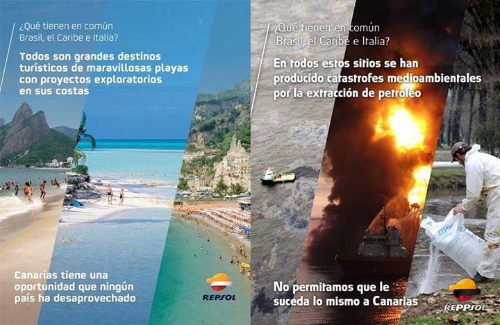 Contracampaña de publicidad contra los anuncios de Repsol defendiendo las prospecciones en Canarias