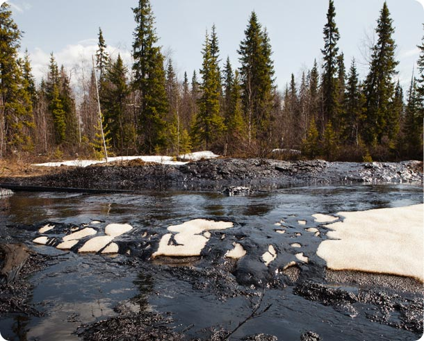 Spring melt reveals oil spilt through the winter